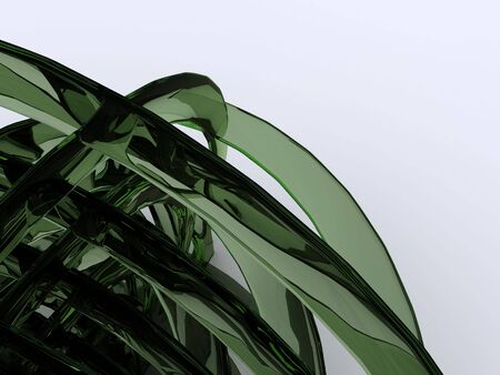 raytracing: green glass abstract. 3D Stock Photo