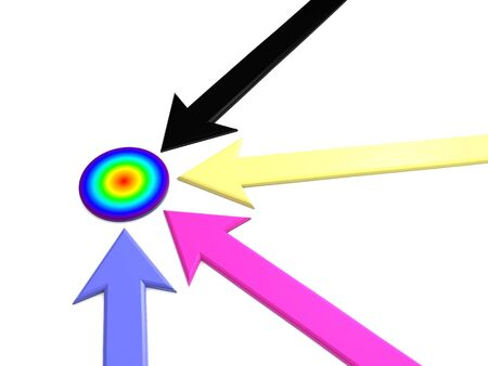 raytracing: pointer to target. 3d Stock Photo
