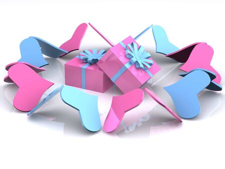 selected: hearts around gifts. 3d