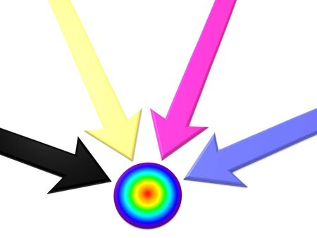 raytracing: CMYK pointer to target. 3d