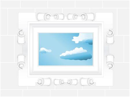 grecas: ventana de cielo alcance calado. vector