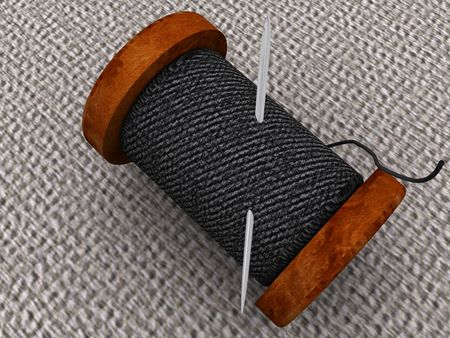 needlewoman: Needle and a thread. 3d