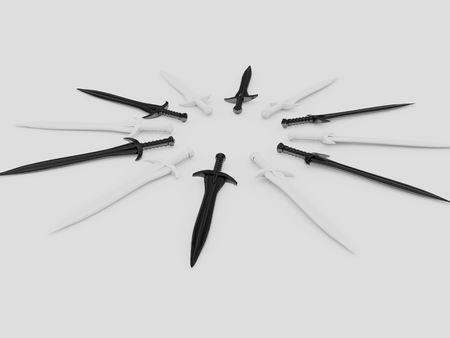 circumference: swords around. 3d Stock Photo