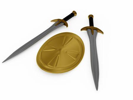 espadas y escudos. 3D Foto de archivo - 3763286