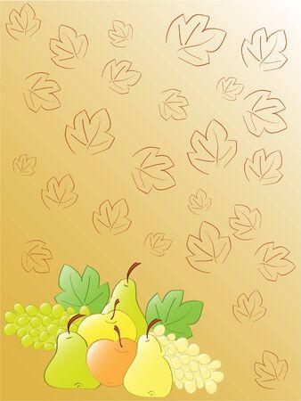 stillife: autumn fruits stillife. vector