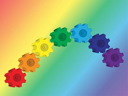 gearings: vector parts gear rainbow backgrounds