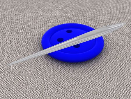 needlewoman: Needle and a button. 3d