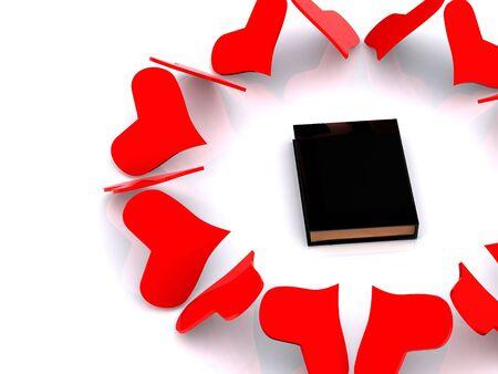 hearts around book. 3d photo