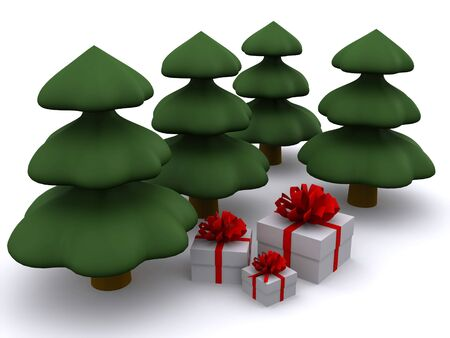 abstract christmas tree with present boxes. 3d Stock Photo - 3809159