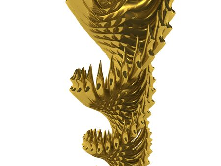 raytracing: gold spiral abstract. 3D