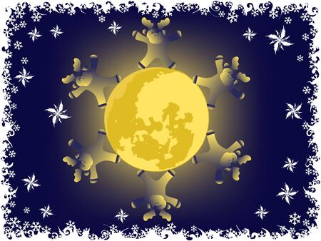 christmas deer on moon. holiday vector backgrounds  photo