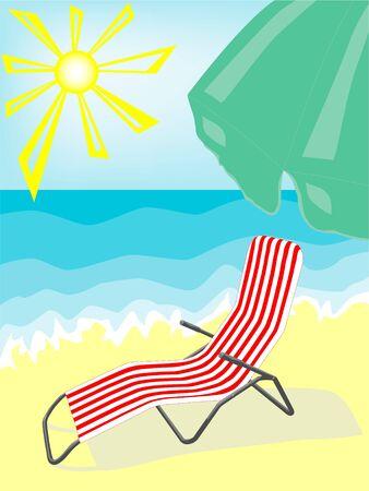 striped deck-chair on beach. vector photo