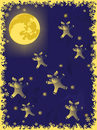 christmas deer on moon. holiday vector backgrounds  Vector