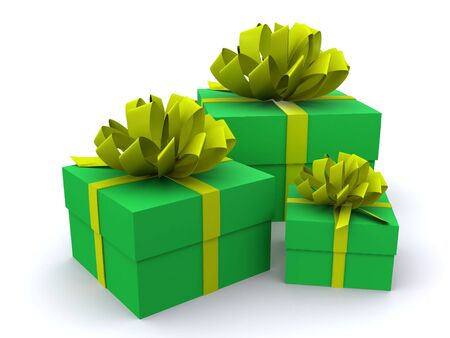 present boxes. 3D Stock Photo