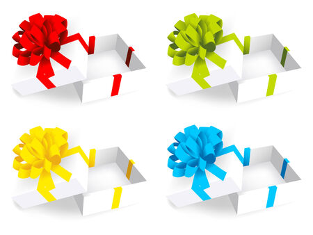 open present: open white gift box. Vector