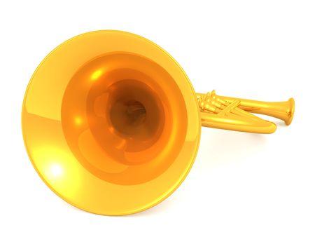 buzzer: musical instrument horn.3d Stock Photo