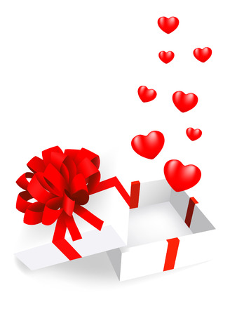 open gift box with hearts. 3d valentine Vector