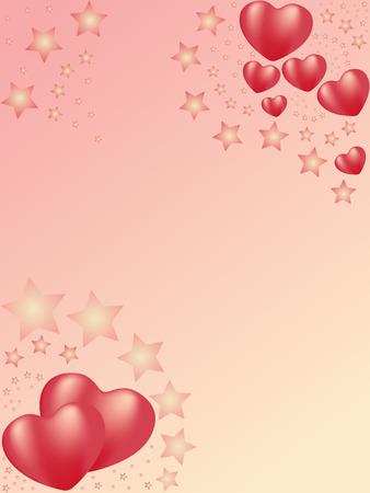 red heart background. 3d valentine Vector