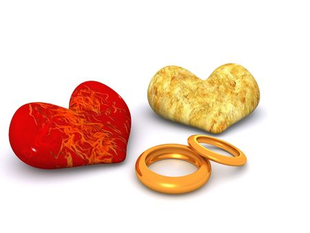 two hearts and rings. 3d valentine photo