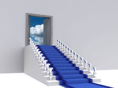 stair to sky. 3d Stock Photo