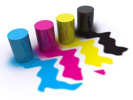 CMYK paint. 3d Stock Photo - 4319541