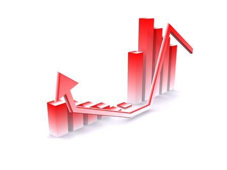 crisis finances diagram. 3d Stock Photo