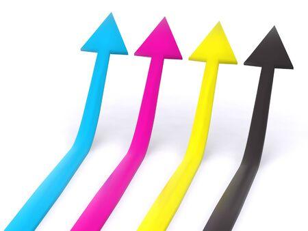 raytracing: four CMYK pointers. 3d arrow Stock Photo
