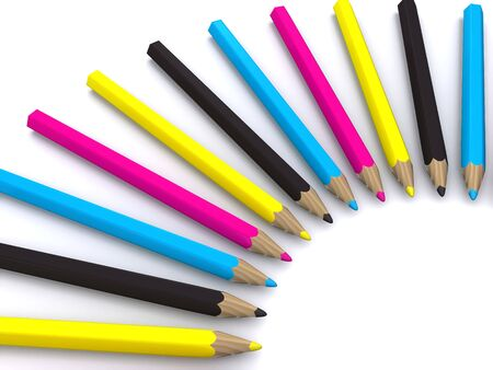 CMYK colored pencils around. 3D Stock Photo - 4557909