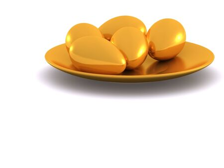 easter eggs on plate. 3d Stock Photo - 4566799
