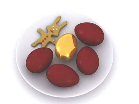 easter eggs on plate. 3d Stock Photo - 4566803