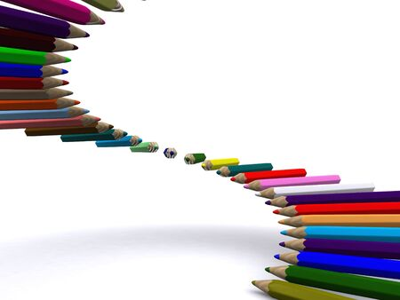 staircase of color pencils. 3D Stock Photo - 4566782