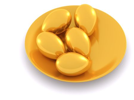 easter eggs on plate. 3d Stock Photo - 4587074