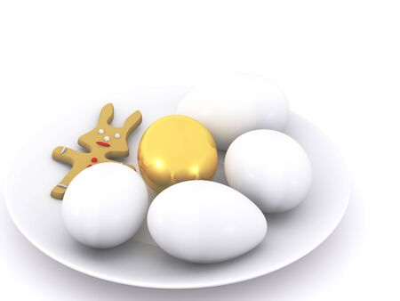 easter eggs on plate. 3d photo