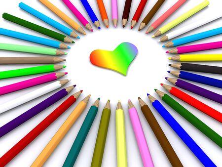 Farbstiften rund Herzen. 3D