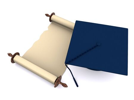 graduation objects on white. 3d photo