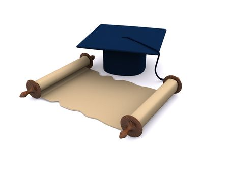 graduation objects on white. 3d