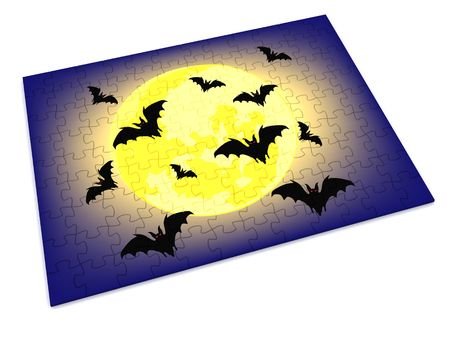 final piece of the puzzle: halloween puzzle piece. 3d Stock Photo