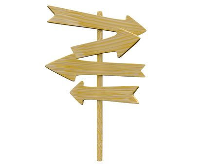 right choice: empty isolated wooden signpost. 3d Stock Photo