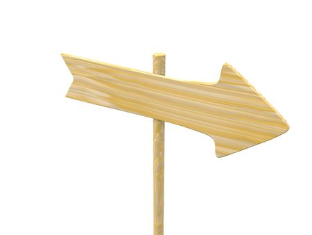 empty isolated wooden signpost. 3d photo