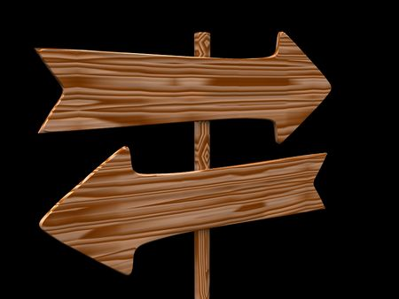 right path: empty isolated wooden signpost. 3d Stock Photo