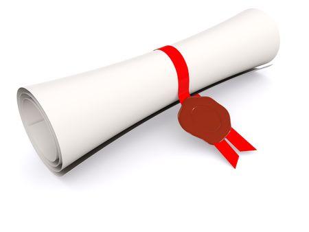 dyplom przejdź na białym. 3d Zdjęcie Seryjne