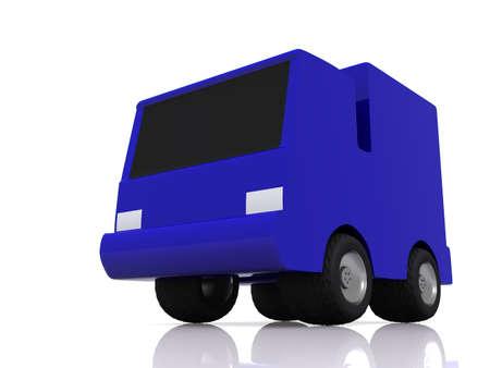 single blue car. 3D Stock Photo - 4856689