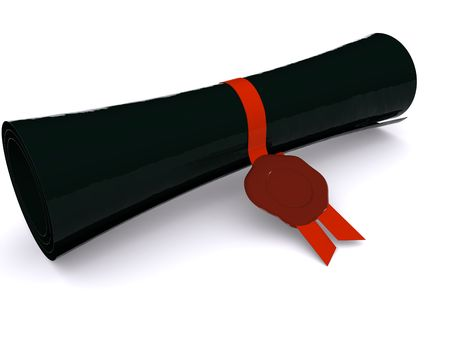 diploma in scroll on white. 3d photo
