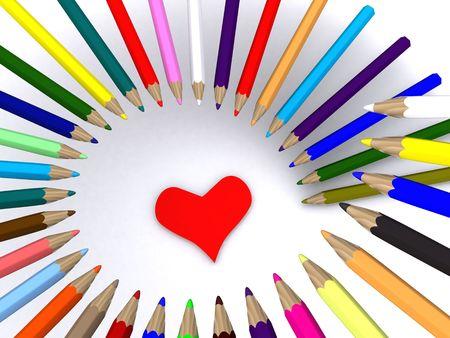 color pencils around heart. 3D photo