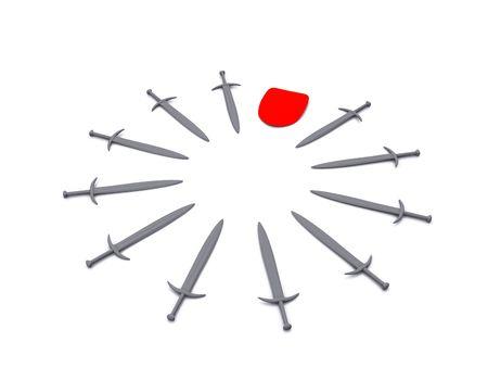 hilt: shields and swords leadership. 3d Stock Photo