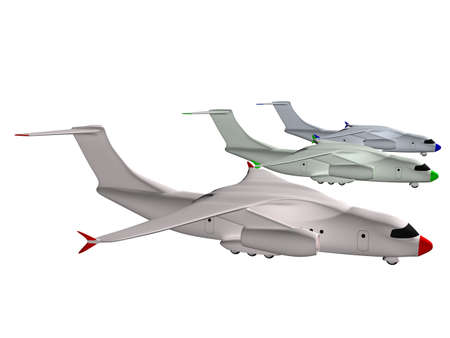 3d mode: three colored RGB airplanes. 3d Stock Photo