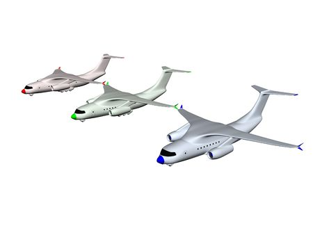 three colored: three colored RGB airplanes. 3d Stock Photo