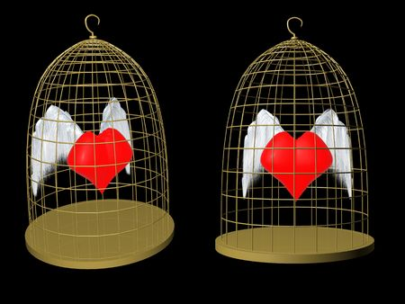 red heart in birdcage. 3d photo