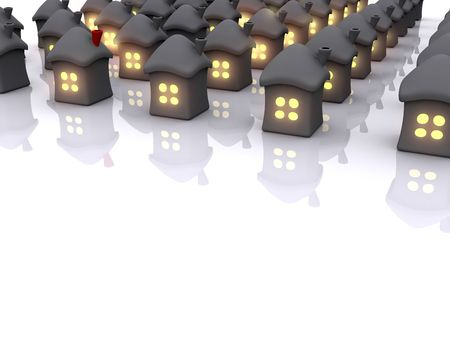homes with light in window. 3d Stock Photo - 5145551