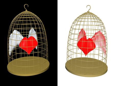 soaring: red heart in birdcage. 3d